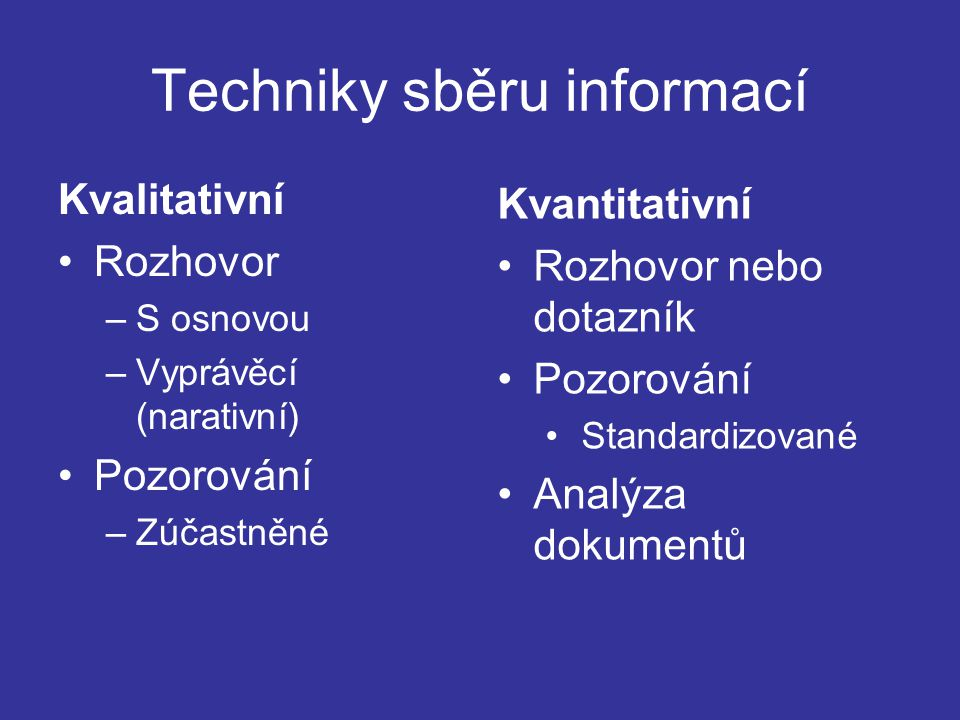 Techniky sběru informací Kvalitativní Rozhovor –S osnovou –Vyprávěcí (narativní) Pozorování –Zúčastněné Kvantitativní Rozhovor nebo dotazník Pozorování Standardizované Analýza dokumentů