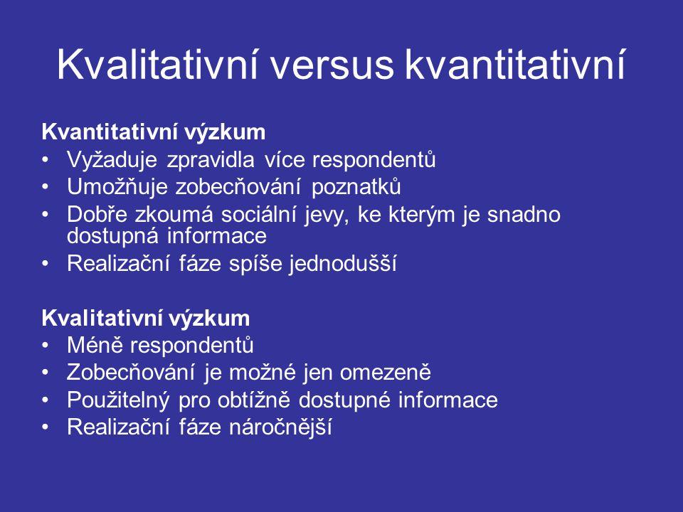 Kvalitativní versus kvantitativní Kvantitativní výzkum Vyžaduje zpravidla více respondentů Umožňuje zobecňování poznatků Dobře zkoumá sociální jevy, ke kterým je snadno dostupná informace Realizační fáze spíše jednodušší Kvalitativní výzkum Méně respondentů Zobecňování je možné jen omezeně Použitelný pro obtížně dostupné informace Realizační fáze náročnější