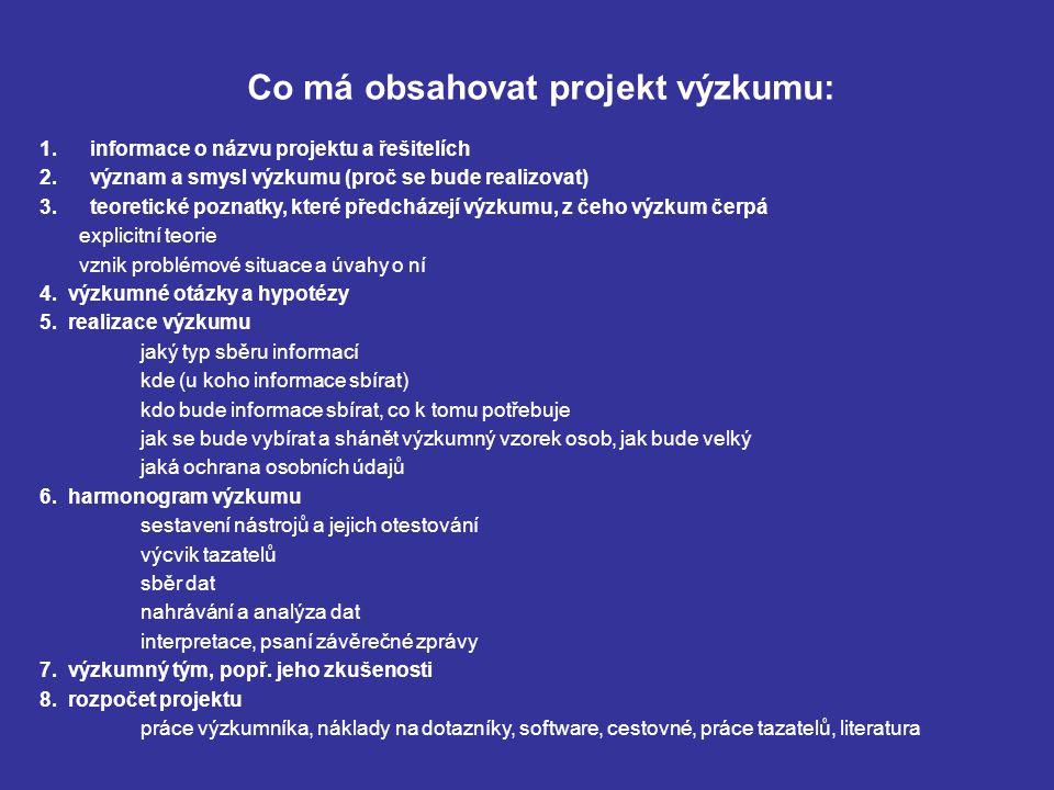 Co má obsahovat projekt výzkumu: 1. informace o názvu projektu a řešitelích 2.