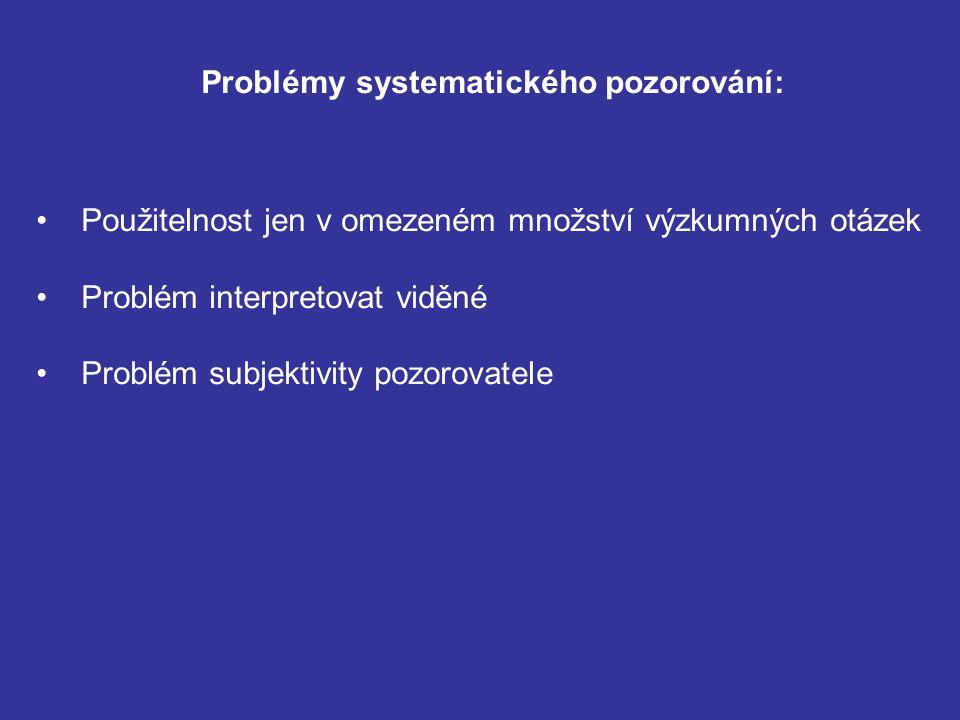 Problémy systematického pozorování: Použitelnost jen v omezeném množství výzkumných otázek Problém interpretovat viděné Problém subjektivity pozorovatele