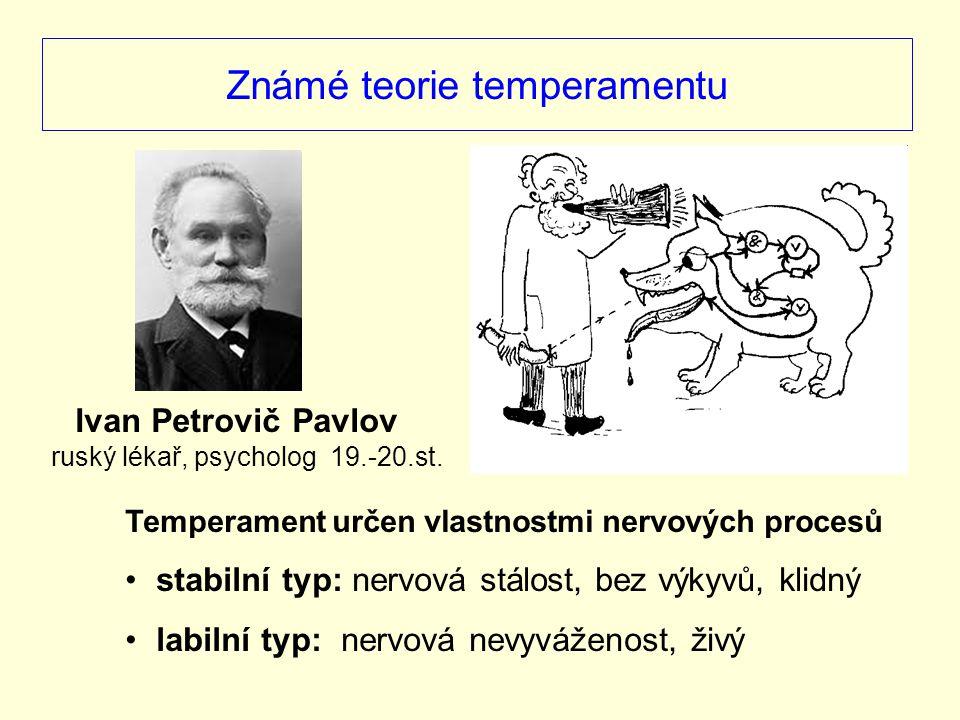 Známé teorie temperamentu Temperament určen vlastnostmi nervových procesů stabilní typ: nervová stálost, bez výkyvů, klidný labilní typ: nervová nevyv