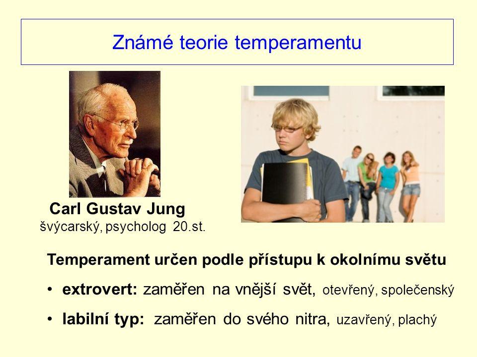 Známé teorie temperamentu Temperament určen podle přístupu k okolnímu světu extrovert: zaměřen na vnější svět, otevřený, společenský labilní typ: zamě
