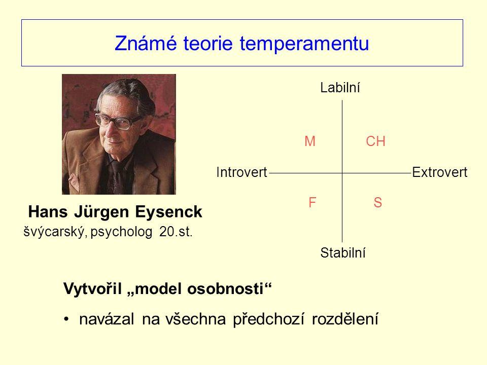 """Známé teorie temperamentu Vytvořil """"model osobnosti"""" navázal na všechna předchozí rozdělení Hans Jürgen Eysenck švýcarský, psycholog 20.st. Introvert"""
