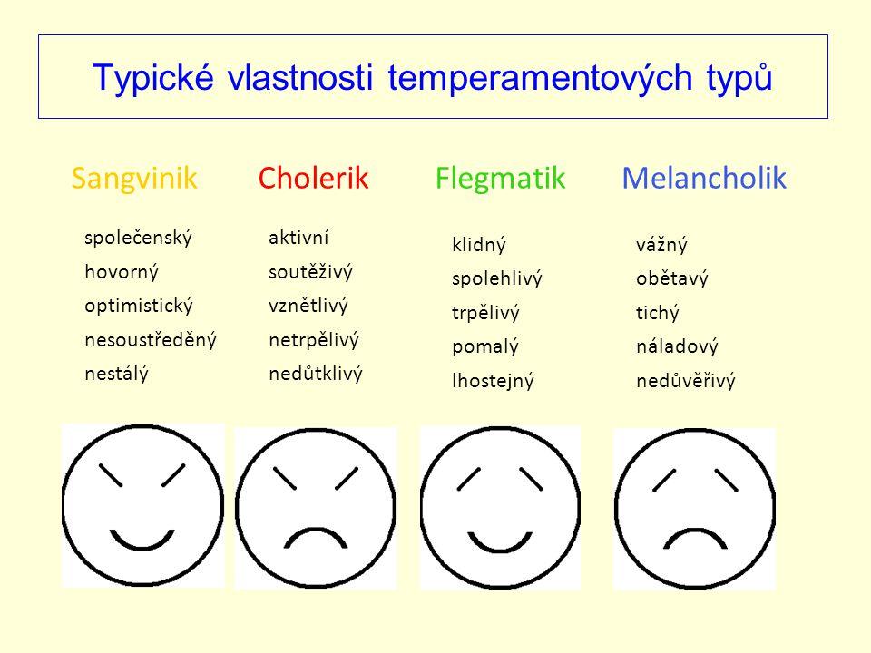 Typické vlastnosti temperamentových typů SangvinikMelancholikFlegmatikCholerik společenský hovorný optimistický nesoustředěný nestálý aktivní vznětliv