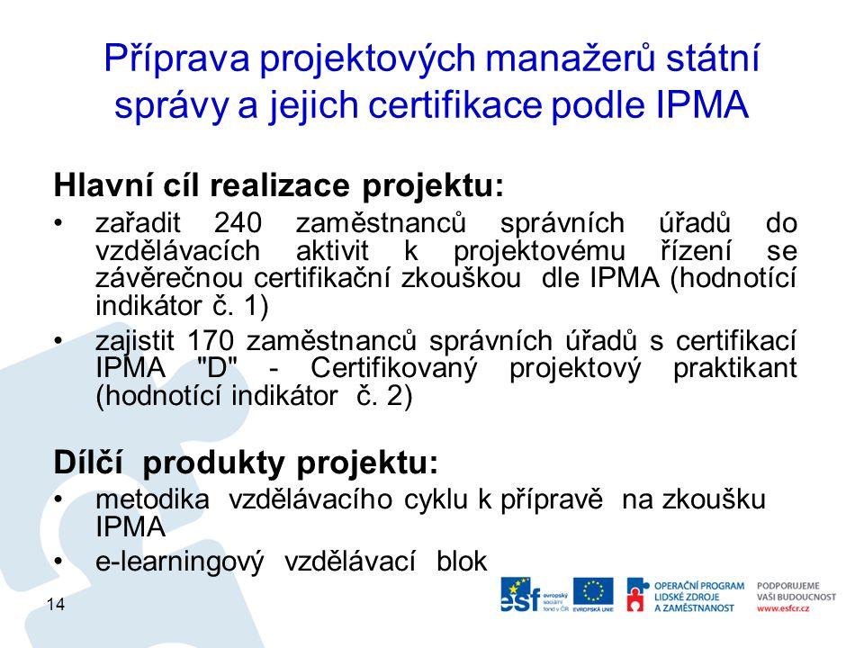 Příprava projektových manažerů státní správy a jejich certifikace podle IPMA Hlavní cíl realizace projektu: zařadit 240 zaměstnanců správních úřadů do vzdělávacích aktivit k projektovému řízení se závěrečnou certifikační zkouškou dle IPMA (hodnotící indikátor č.