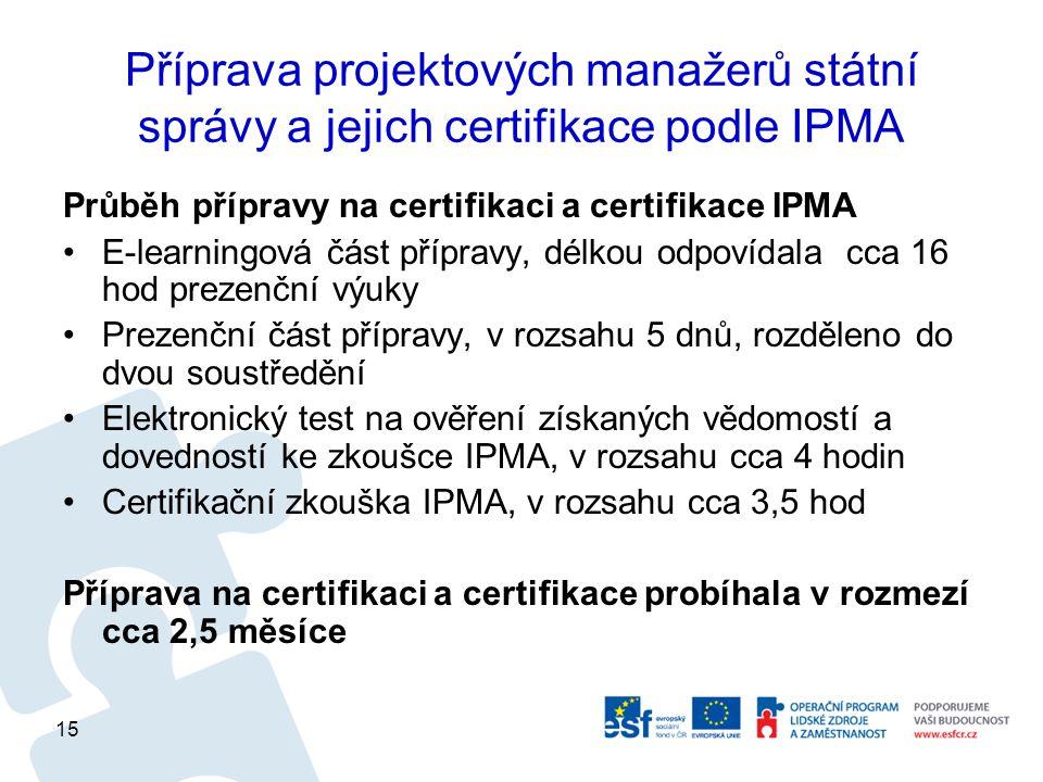 Příprava projektových manažerů státní správy a jejich certifikace podle IPMA Průběh přípravy na certifikaci a certifikace IPMA E-learningová část přípravy, délkou odpovídala cca 16 hod prezenční výuky Prezenční část přípravy, v rozsahu 5 dnů, rozděleno do dvou soustředění Elektronický test na ověření získaných vědomostí a dovedností ke zkoušce IPMA, v rozsahu cca 4 hodin Certifikační zkouška IPMA, v rozsahu cca 3,5 hod Příprava na certifikaci a certifikace probíhala v rozmezí cca 2,5 měsíce 15