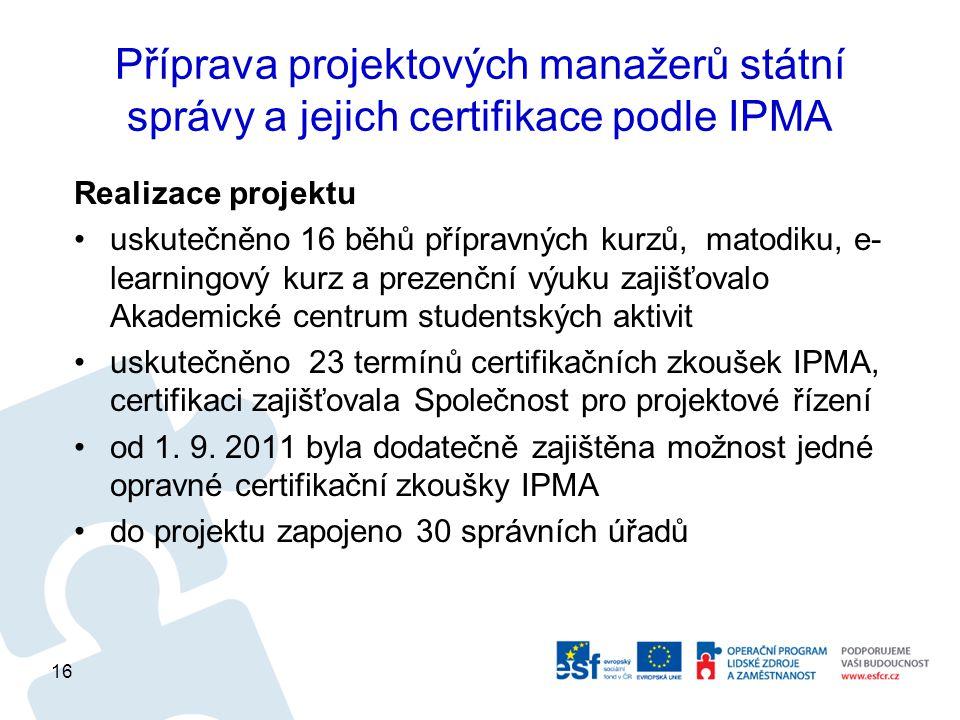 Příprava projektových manažerů státní správy a jejich certifikace podle IPMA Realizace projektu uskutečněno 16 běhů přípravných kurzů, matodiku, e- learningový kurz a prezenční výuku zajišťovalo Akademické centrum studentských aktivit uskutečněno 23 termínů certifikačních zkoušek IPMA, certifikaci zajišťovala Společnost pro projektové řízení od 1.