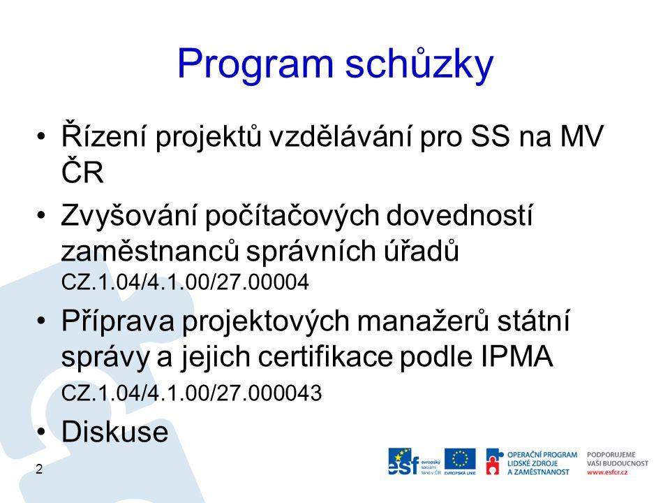 Program schůzky Řízení projektů vzdělávání pro SS na MV ČR Zvyšování počítačových dovedností zaměstnanců správních úřadů CZ.1.04/4.1.00/27.00004 Příprava projektových manažerů státní správy a jejich certifikace podle IPMA CZ.1.04/4.1.00/27.000043 Diskuse 2