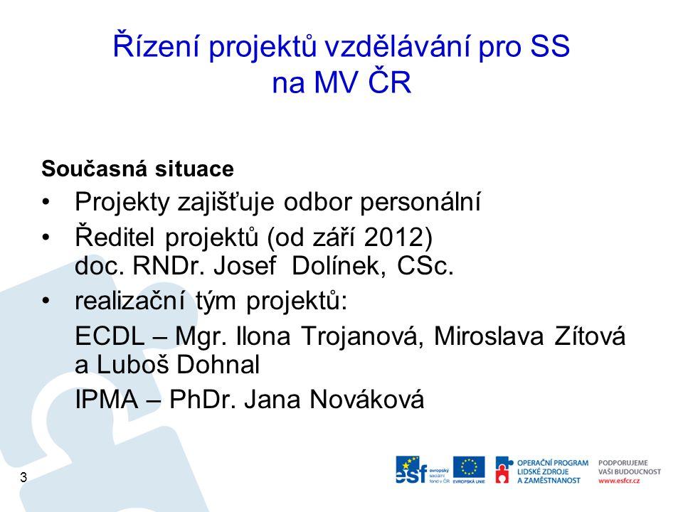 Řízení projektů vzdělávání pro SS na MV ČR Současná situace Projekty zajišťuje odbor personální Ředitel projektů (od září 2012) doc.