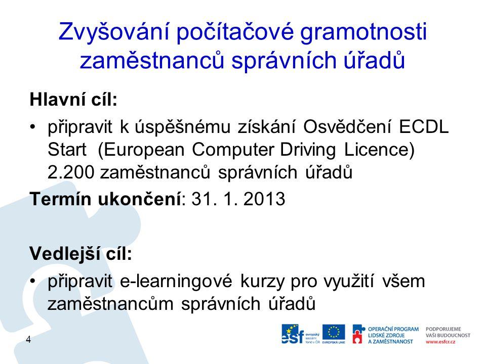 Zvyšování počítačové gramotnosti zaměstnanců správních úřadů Hlavní cíl: připravit k úspěšnému získání Osvědčení ECDL Start (European Computer Driving Licence) 2.200 zaměstnanců správních úřadů Termín ukončení: 31.