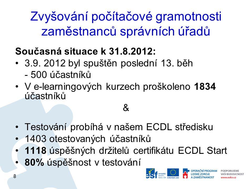 Zvyšování počítačové gramotnosti zaměstnanců správních úřadů Současná situace k 31.8.2012: 3.9.