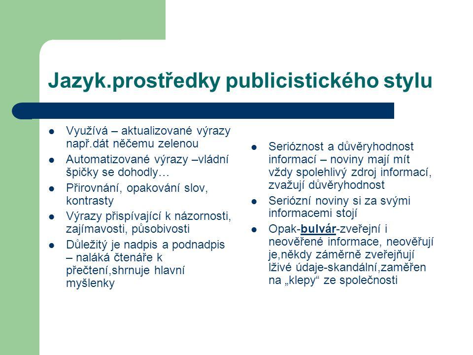 Jazyk.prostředky publicistického stylu Využívá – aktualizované výrazy např.dát něčemu zelenou Automatizované výrazy –vládní špičky se dohodly… Přirovn