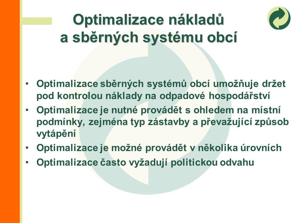 Optimalizace sběrných systémů obcí umožňuje držet pod kontrolou náklady na odpadové hospodářství Optimalizace je nutné provádět s ohledem na místní podmínky, zejména typ zástavby a převažující způsob vytápění Optimalizace je možné provádět v několika úrovních Optimalizace často vyžadují politickou odvahu Optimalizace nákladů a sběrných systému obcí