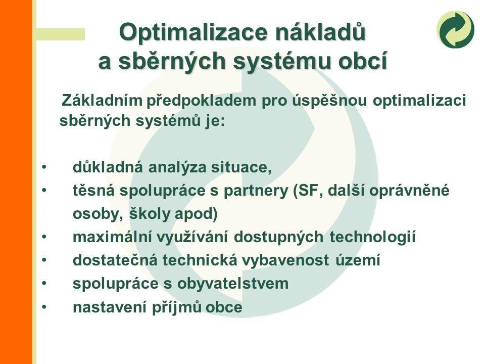 Základním předpokladem pro úspěšnou optimalizaci sběrných systémů je: důkladná analýza situace, těsná spolupráce s partnery (SF, další oprávněné osoby, školy apod) maximální využívání dostupných technologií dostatečná technická vybavenost území spolupráce s obyvatelstvem nastavení příjmů obce Optimalizace nákladů a sběrných systému obcí