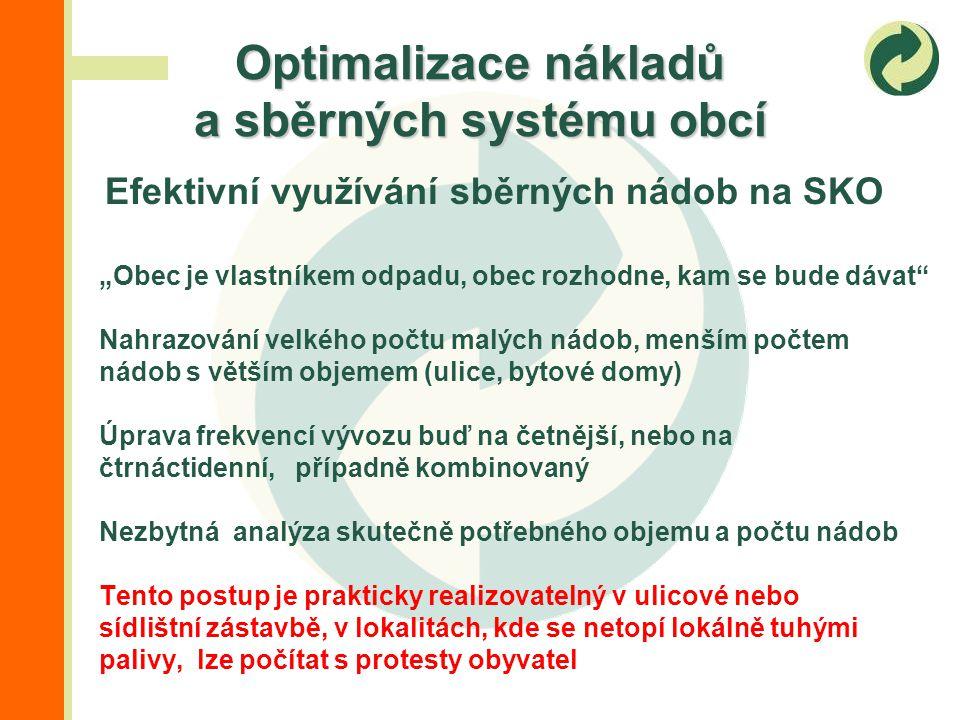 """Efektivní využívání sběrných nádob na SKO """"Objem zůstává stejný, barva nádob se mění Snížení objemu nádob na SKO, včetně úpravy frekvencí vývozu, posílení stanovišť na tříděný odpad, případně zavedení pytlového sběru VSKO Nakládání s využitelnými složkami je díky odměnám EKO-KOM výhodnější, než odstraňování SKO, obyvatelstvu zůstal k dispozici stejný celkový objem pro nakládání s domovním odpadem, ale musí víc třídit Tento postup je prakticky realizovatelný ve většině případů, lze počítat s protesty obyvatel, dochází ke stagnaci reálných nákladů, případně k jejich snižování Optimalizace nákladů a sběrných systému obcí"""