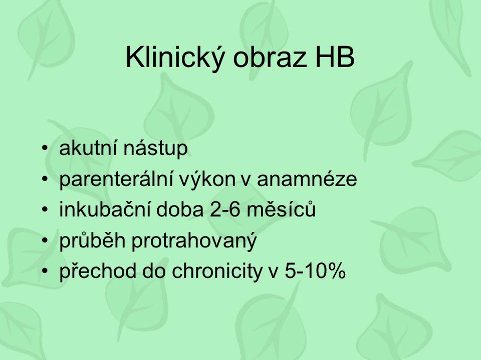 Klinický obraz HB akutní nástup parenterální výkon v anamnéze inkubační doba 2-6 měsíců průběh protrahovaný přechod do chronicity v 5-10%