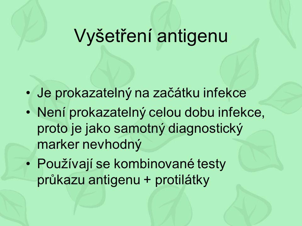 Vyšetření antigenu Je prokazatelný na začátku infekce Není prokazatelný celou dobu infekce, proto je jako samotný diagnostický marker nevhodný Používa
