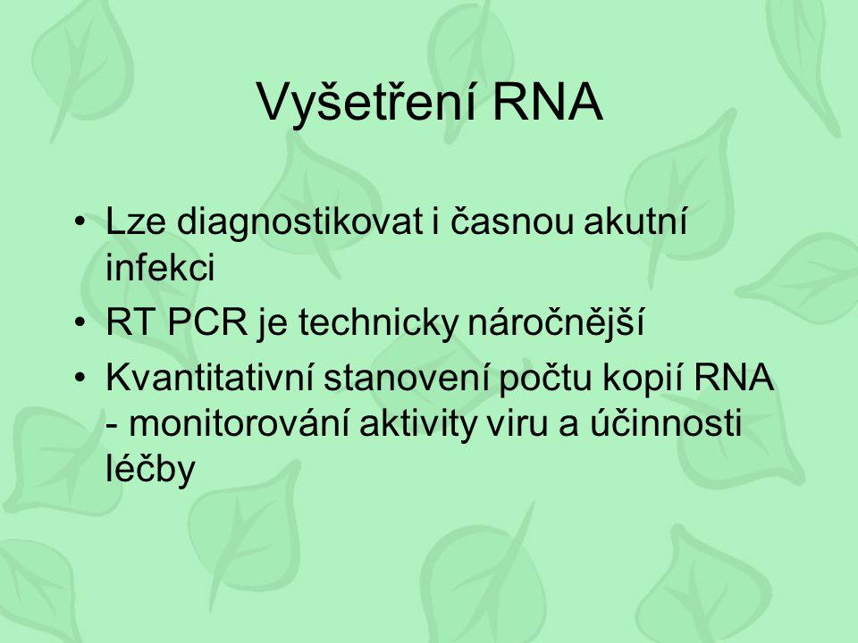 Vyšetření RNA Lze diagnostikovat i časnou akutní infekci RT PCR je technicky náročnější Kvantitativní stanovení počtu kopií RNA - monitorování aktivit