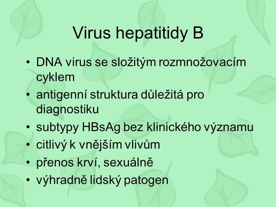 Viry hepatitidy G RNA viry podobné HCV pravděpodobně několik typů rozlišuje se HGV a GBV (A-C) přenos krví (posttransfuzní) vyskytuje se i u zdravé populace Diagnostika - průkaz virové RNA