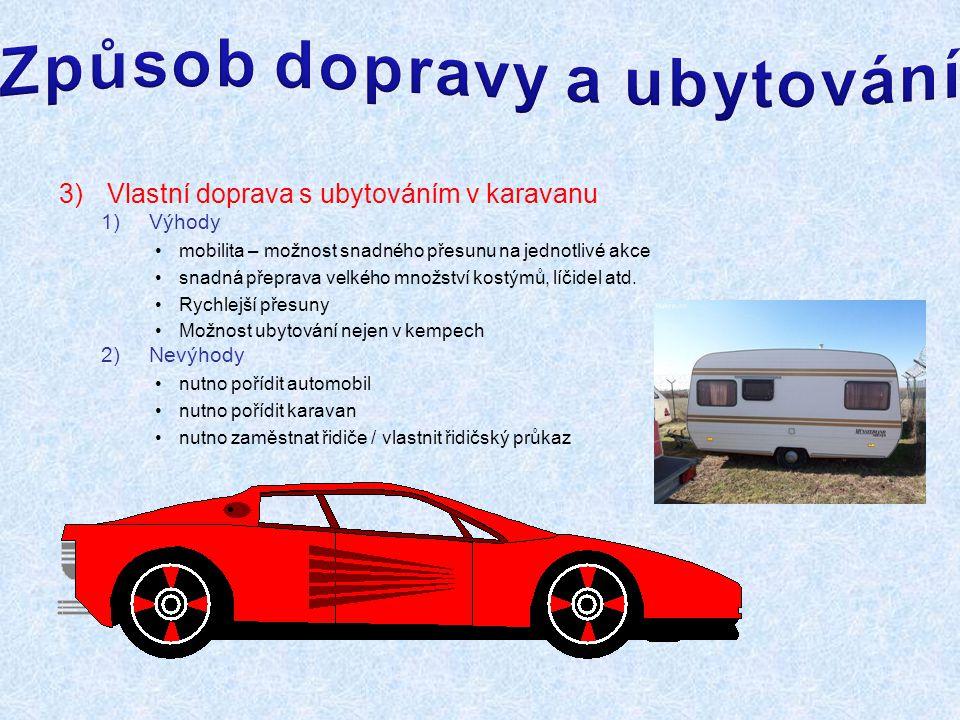 3)Vlastní doprava s ubytováním v karavanu 1)Výhody mobilita – možnost snadného přesunu na jednotlivé akce snadná přeprava velkého množství kostýmů, líčidel atd.
