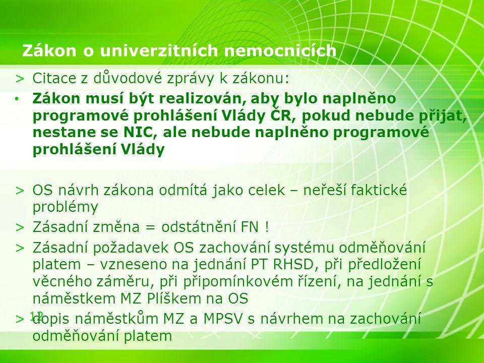 12 Zákon o univerzitních nemocnicích >Citace z důvodové zprávy k zákonu: Zákon musí být realizován, aby bylo naplněno programové prohlášení Vlády ČR,