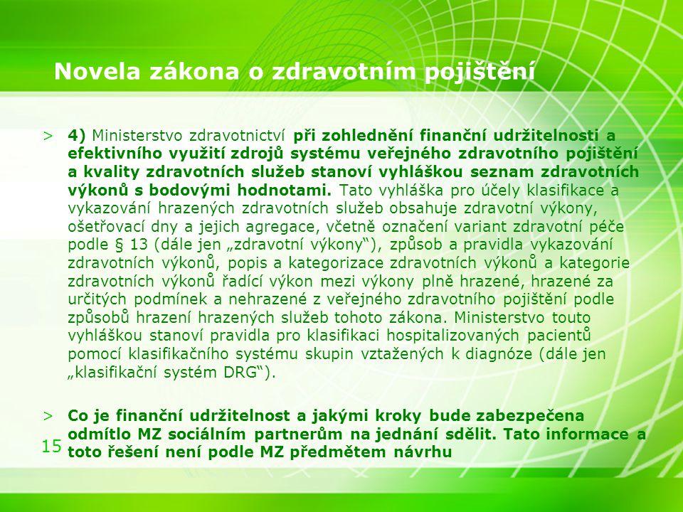 15 Novela zákona o zdravotním pojištění >4) Ministerstvo zdravotnictví při zohlednění finanční udržitelnosti a efektivního využití zdrojů systému veře