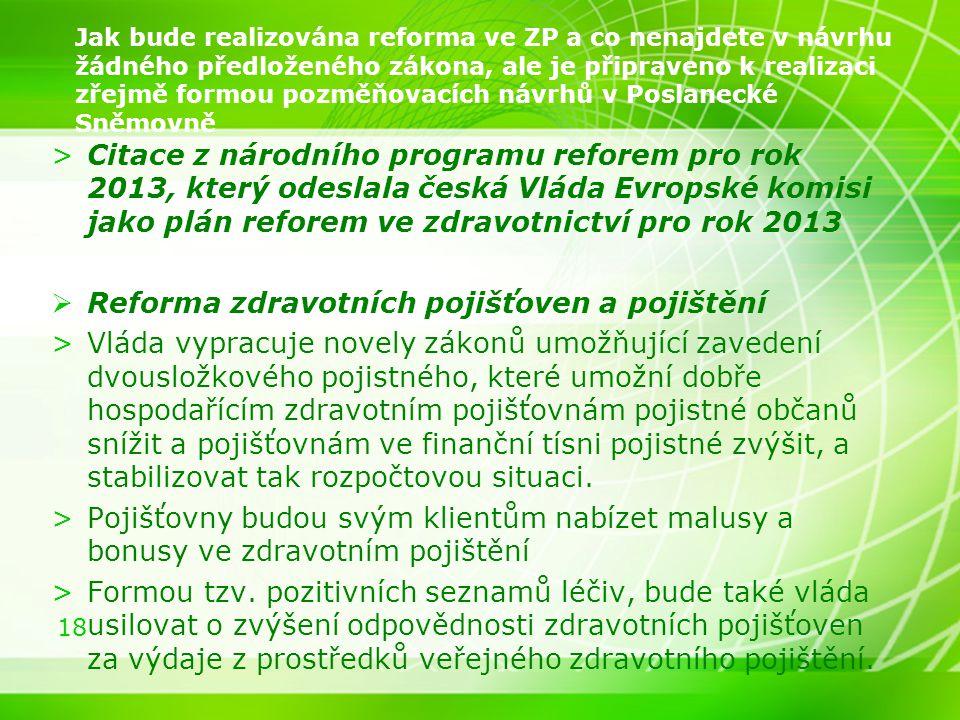 18 Jak bude realizována reforma ve ZP a co nenajdete v návrhu žádného předloženého zákona, ale je připraveno k realizaci zřejmě formou pozměňovacích n