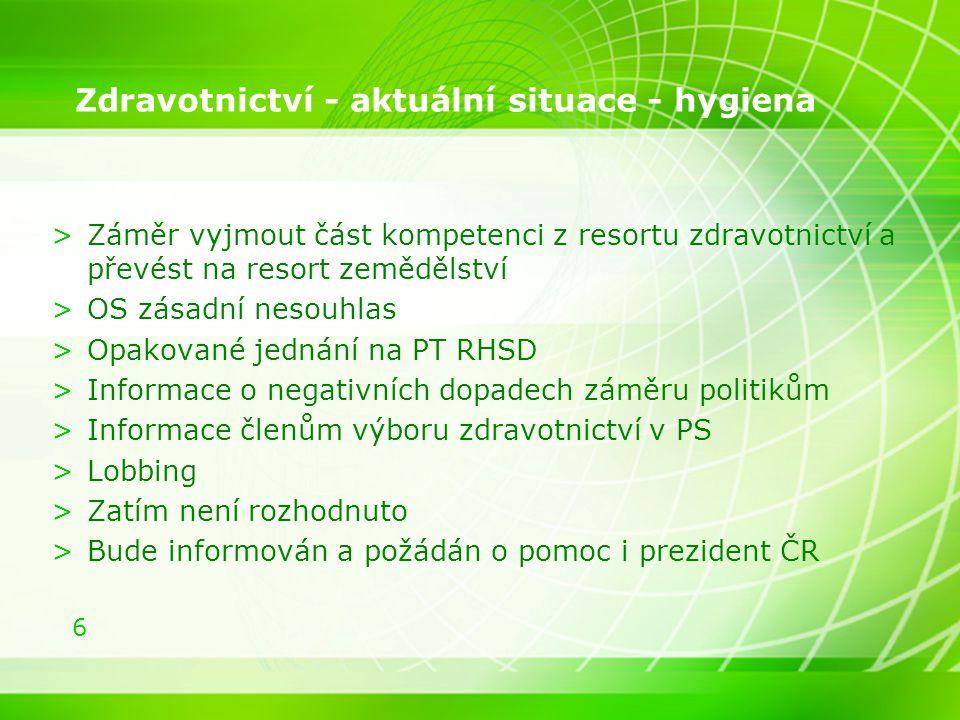 6 Zdravotnictví - aktuální situace - hygiena >Záměr vyjmout část kompetenci z resortu zdravotnictví a převést na resort zemědělství >OS zásadní nesouh
