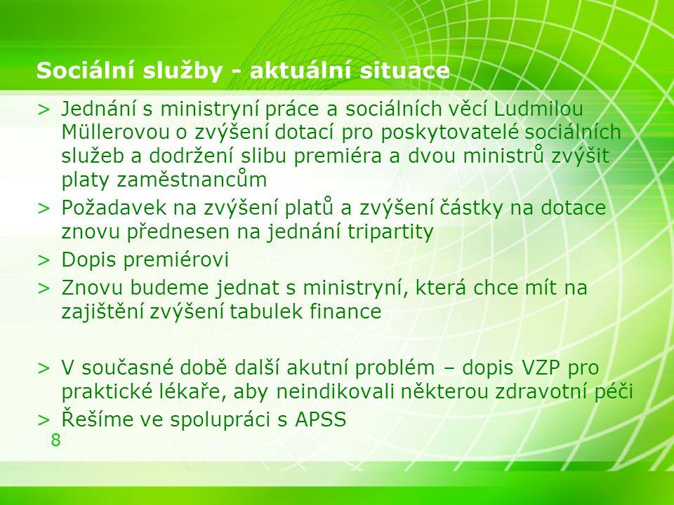 8 Sociální služby - aktuální situace >Jednání s ministryní práce a sociálních věcí Ludmilou Müllerovou o zvýšení dotací pro poskytovatelé sociálních s