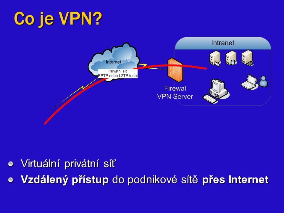 Co je VPN? Virtuální privátní síť Vzdálený přístup do podnikové sítě přes Internet
