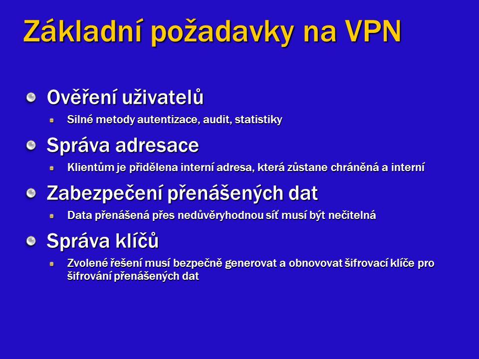 Základní požadavky na VPN Ověření uživatelů Silné metody autentizace, audit, statistiky Správa adresace Klientům je přidělena interní adresa, která zů