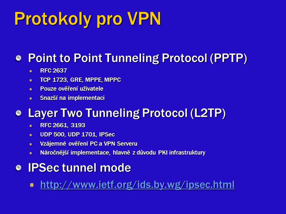Protokoly pro VPN Point to Point Tunneling Protocol (PPTP) RFC 2637 TCP 1723, GRE, MPPE, MPPC Pouze ověření uživatele Snazší na implementaci Layer Two