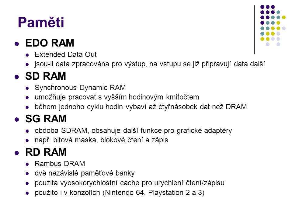 Paměti EDO RAM Extended Data Out jsou-li data zpracována pro výstup, na vstupu se již připravují data další SD RAM Synchronous Dynamic RAM umožňuje pracovat s vyšším hodinovým kmitočtem během jednoho cyklu hodin vybaví až čtyřnásobek dat než DRAM SG RAM obdoba SDRAM, obsahuje další funkce pro grafické adaptéry např.