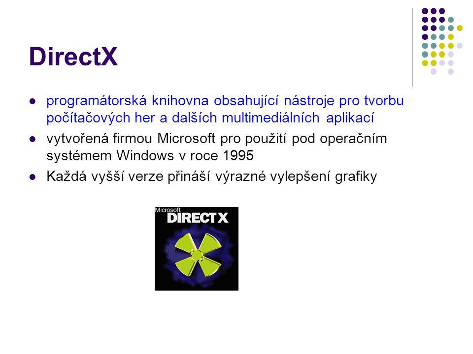 DirectX programátorská knihovna obsahující nástroje pro tvorbu počítačových her a dalších multimediálních aplikací vytvořená firmou Microsoft pro použití pod operačním systémem Windows v roce 1995 Každá vyšší verze přináší výrazné vylepšení grafiky