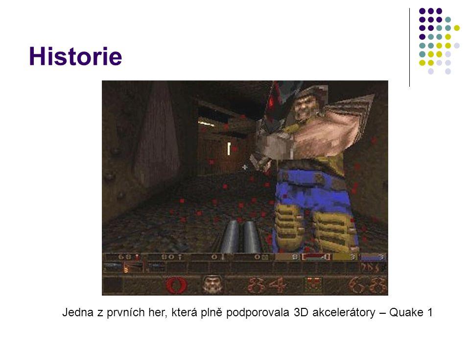 Historie Jedna z prvních her, která plně podporovala 3D akcelerátory – Quake 1