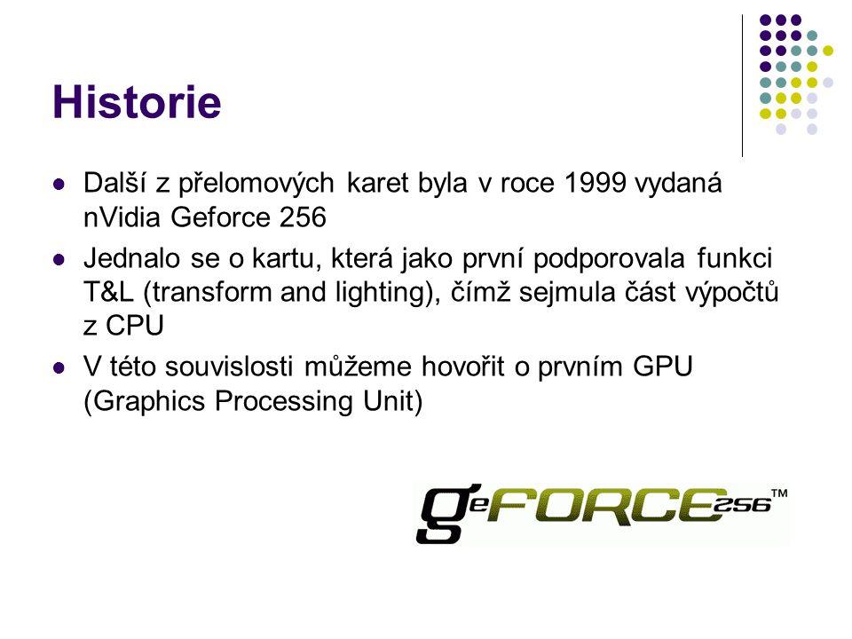 Další z přelomových karet byla v roce 1999 vydaná nVidia Geforce 256 Jednalo se o kartu, která jako první podporovala funkci T&L (transform and lighting), čímž sejmula část výpočtů z CPU V této souvislosti můžeme hovořit o prvním GPU (Graphics Processing Unit)