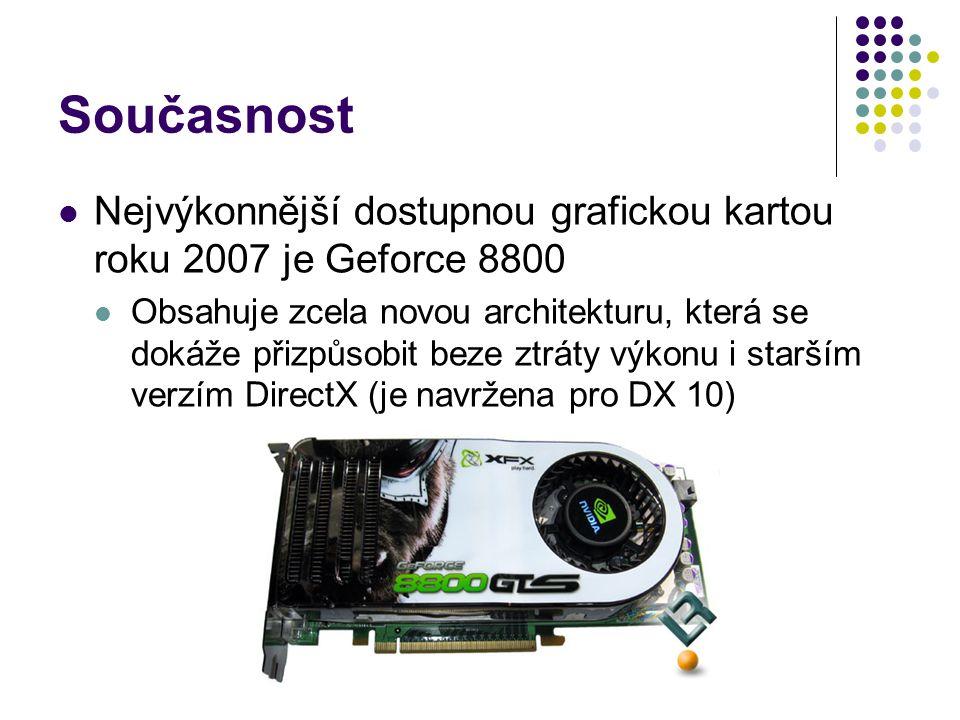 Současnost Nejvýkonnější dostupnou grafickou kartou roku 2007 je Geforce 8800 Obsahuje zcela novou architekturu, která se dokáže přizpůsobit beze ztráty výkonu i starším verzím DirectX (je navržena pro DX 10)