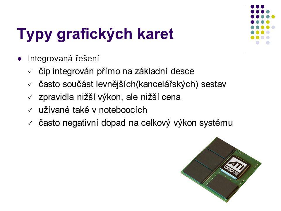 Typy grafických karet Integrovaná řešení čip integrován přímo na základní desce často součást levnějších(kancelářských) sestav zpravidla nižší výkon, ale nižší cena užívané také v noteboocích často negativní dopad na celkový výkon systému