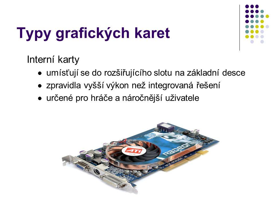 Co nalezneme na grafické kartě: GPU (Graphics Processing Unit) RAMDAC Paměti Sběrnice