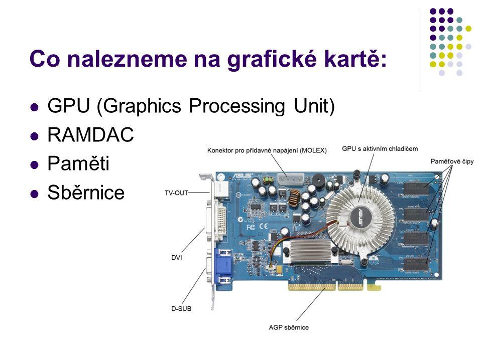 Zobrazovací režimy Určují, jaké rozlišení a jakou barevnou hloubku dokáže dané zařízení zobrazit Dnešní grafické karty zvládají bez problémů i rozlišení 3200×2400 (QUXGA) při barevné hloubce 32 bitů Quad Ultra Extended Graphics Array Historicky první zobrazovací režim pro IBM PC(1982) – MDA(Monochrome Display Adapter) Některé dnes nejčastěji využívané režimy: XGA, UXGA, QVGA, QSXGA, WXGA, SXGA