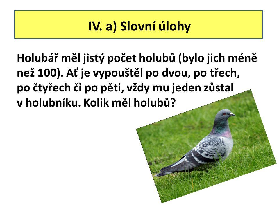 IV. a) Slovní úlohy Holubář měl jistý počet holubů (bylo jich méně než 100).