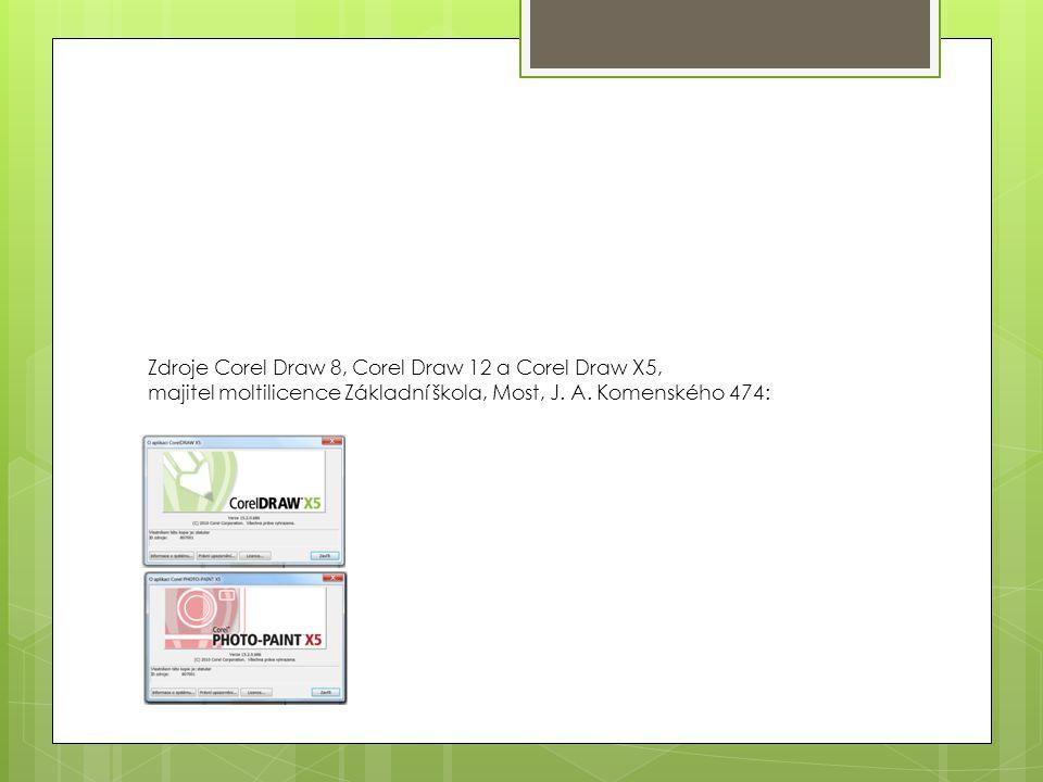 Zdroje Corel Draw 8, Corel Draw 12 a Corel Draw X5, majitel moltilicence Základní škola, Most, J.