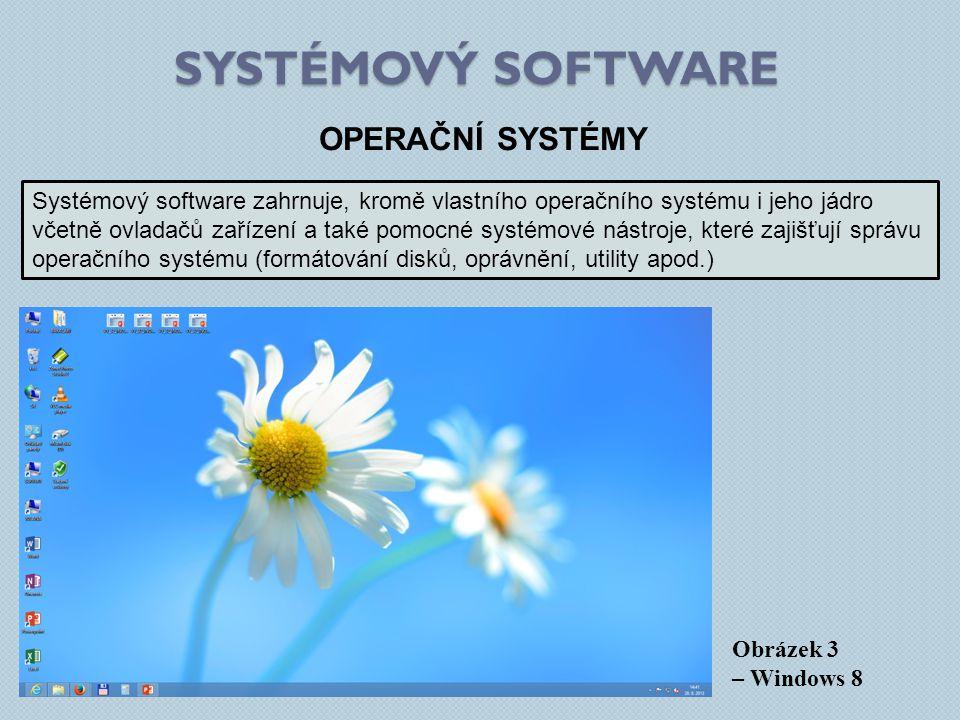 SYSTÉMOVÝ SOFTWARE Obrázek 3 – Windows 8 OPERAČNÍ SYSTÉMY Systémový software zahrnuje, kromě vlastního operačního systému i jeho jádro včetně ovladačů