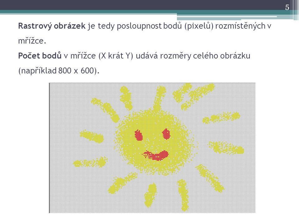 Rastrový obrázek je tedy posloupnost bodů (pixelů) rozmístěných v mřížce. Počet bodů v mřížce (X krát Y) udává rozměry celého obrázku (například 800 x
