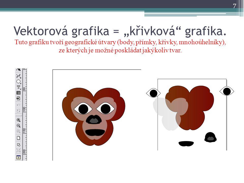 """Vektorová grafika = """"křivková"""" grafika. Tuto grafiku tvoří geografické útvary (body, přímky, křivky, mnohoúhelníky), ze kterých je možné poskládat jak"""