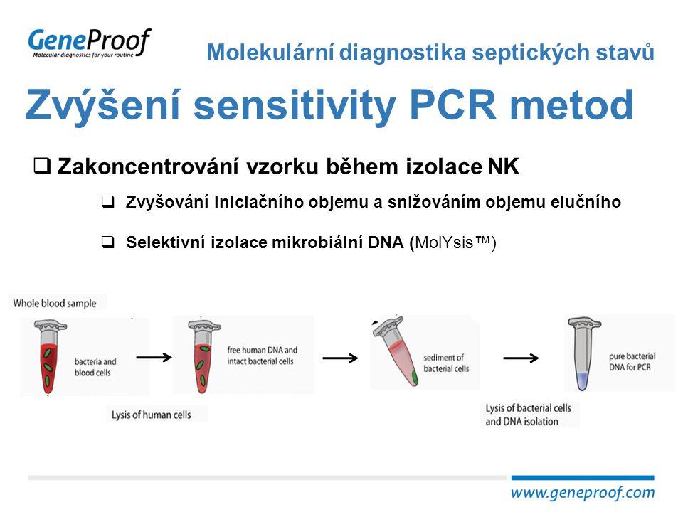 Zvýšení sensitivity PCR metod Molekulární diagnostika septických stavů  Zakoncentrování vzorku během izolace NK  Zvyšování iniciačního objemu a sniž
