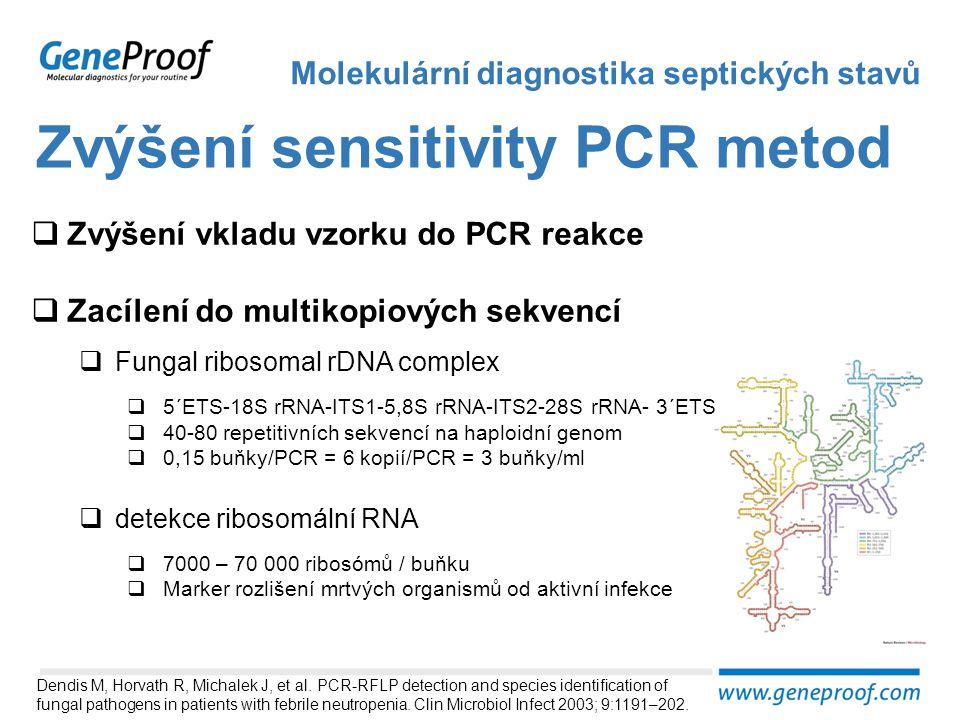 Zvýšení sensitivity PCR metod Molekulární diagnostika septických stavů  Zvýšení vkladu vzorku do PCR reakce  Zacílení do multikopiových sekvencí  F