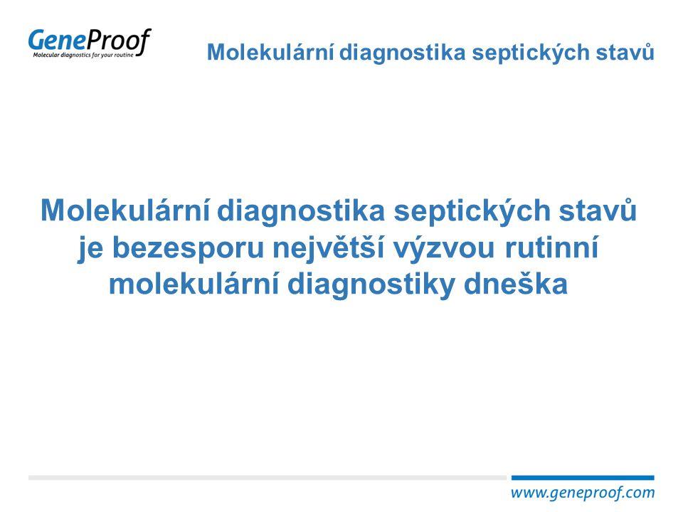 Vysoká mortalita Molekulární diagnostika septických stavů Incidence (EU) 90,4 případů / 100 000 obyvatel Mortalita (JIP) 27% (sepse) – 54% (septický šok) Náklady na léčbu 7,6 mld EUR/rok