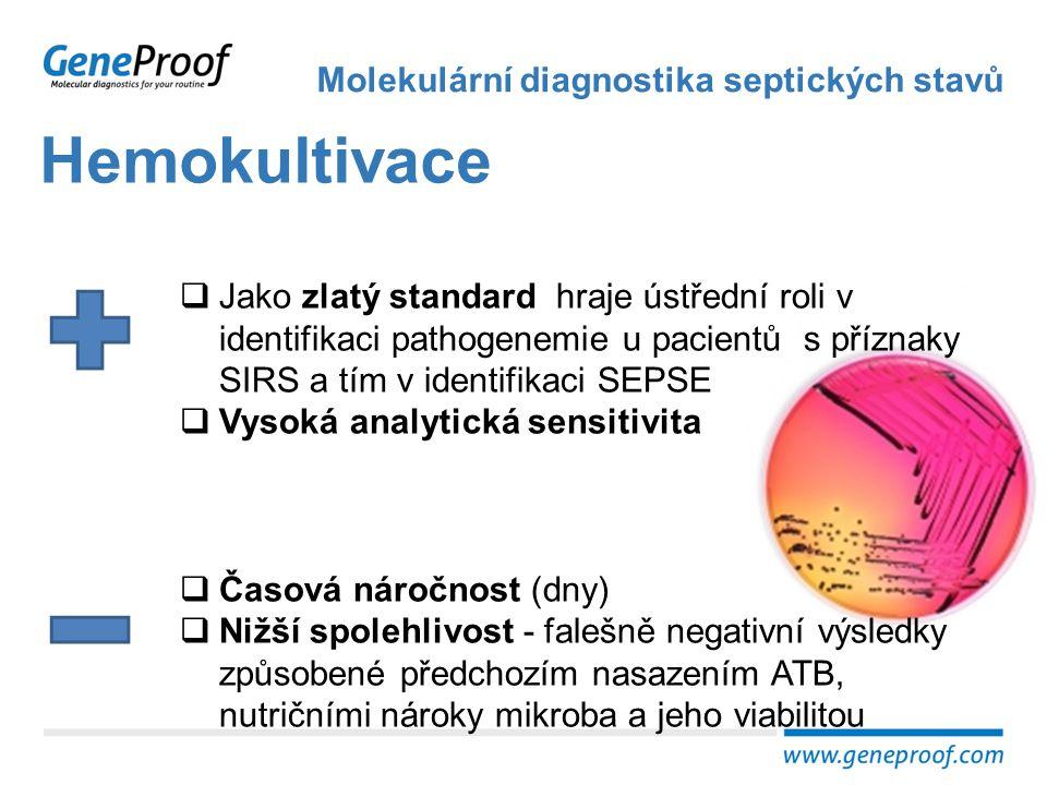 Kultivačně nezávislé metody Molekulární diagnostika septických stavů  Rychlost (hodiny)  Vyšší spolehlivost - nezávislost na viabilitě detekovaného mikroorganismu, jeho nutričních nárocích a délce životního cyklu  Správná indikace  Správný odběr a jeho načasování  Metodická nejednotnost a pracnost  Nízká analytická sensitivita  Časté kontaminace  Problematická interpretace