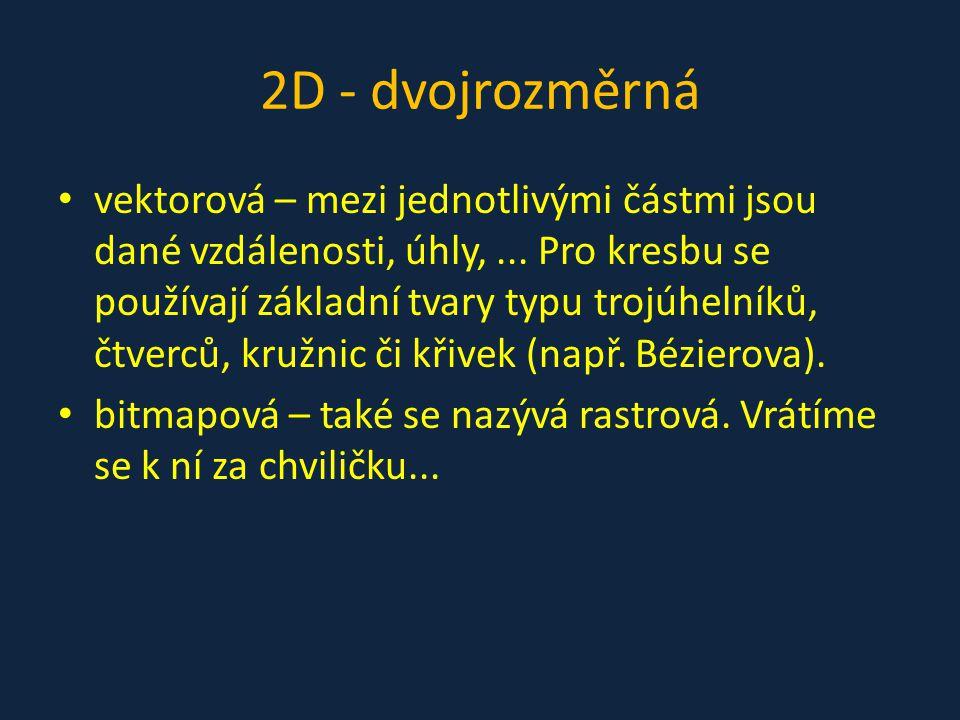 2D - dvojrozměrná vektorová – mezi jednotlivými částmi jsou dané vzdálenosti, úhly,...